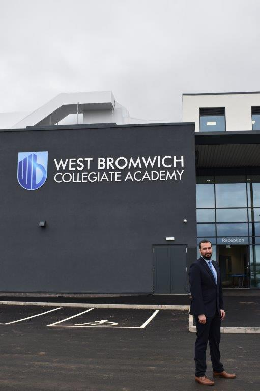 Principal George Faux outside West Bromwich Collegiate Academy