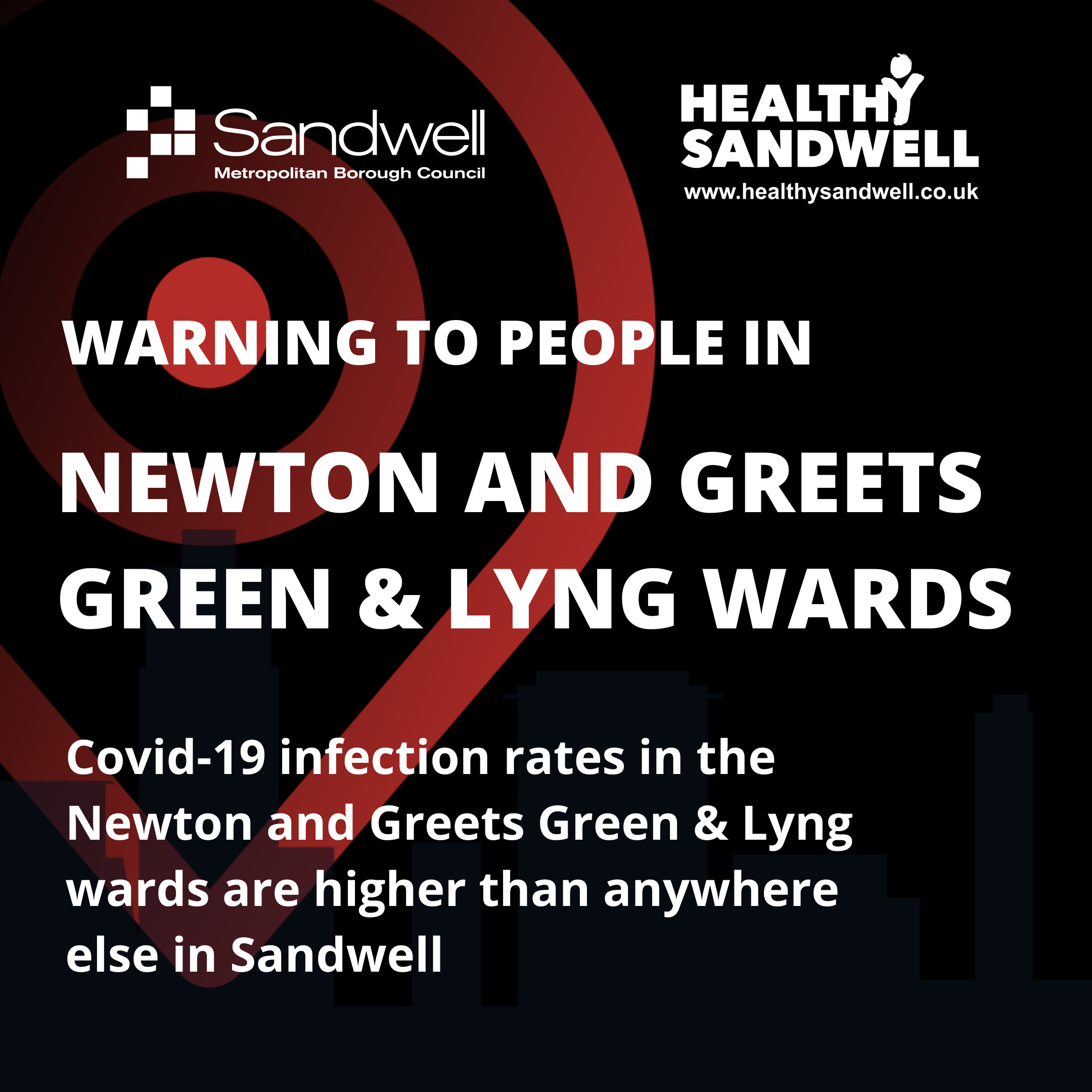 Warning graphic for Newton and Greets Green & Lyng wards
