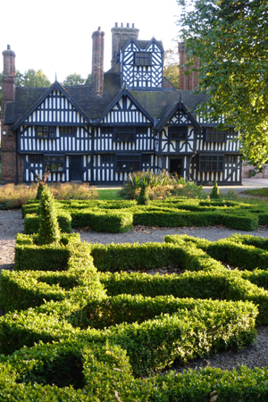 The knot garden is currently the only part of the Oak House Museum gardens in similar keeping with the 1600s