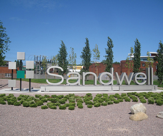Sandwell sign on Birchley Island, Oldbury