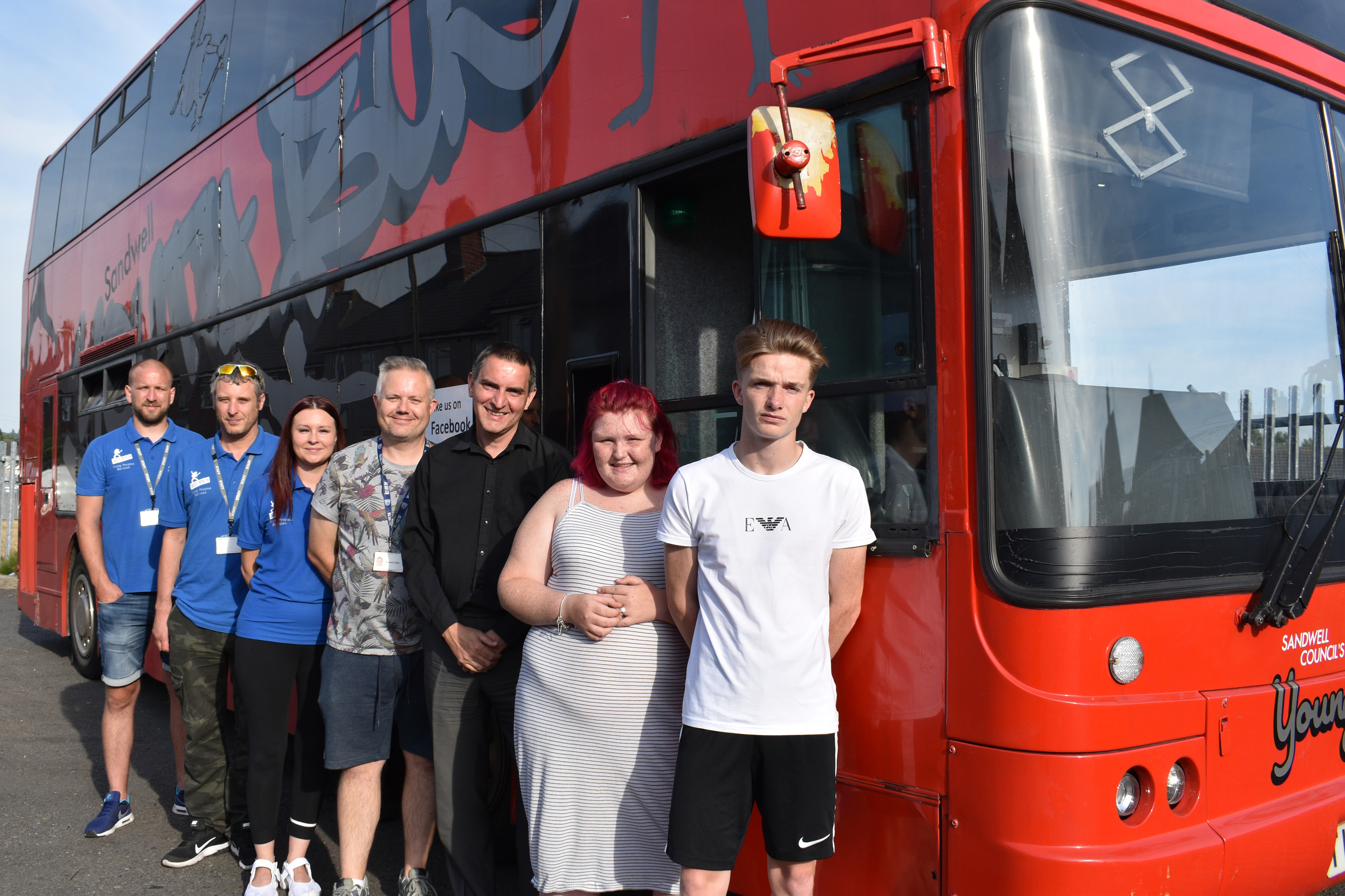 Youth workers Andy Turvey, Stuart Jones, Jayne Norton and Russell Allen with Cllr Simon Hackett and young people Briony and Brandon