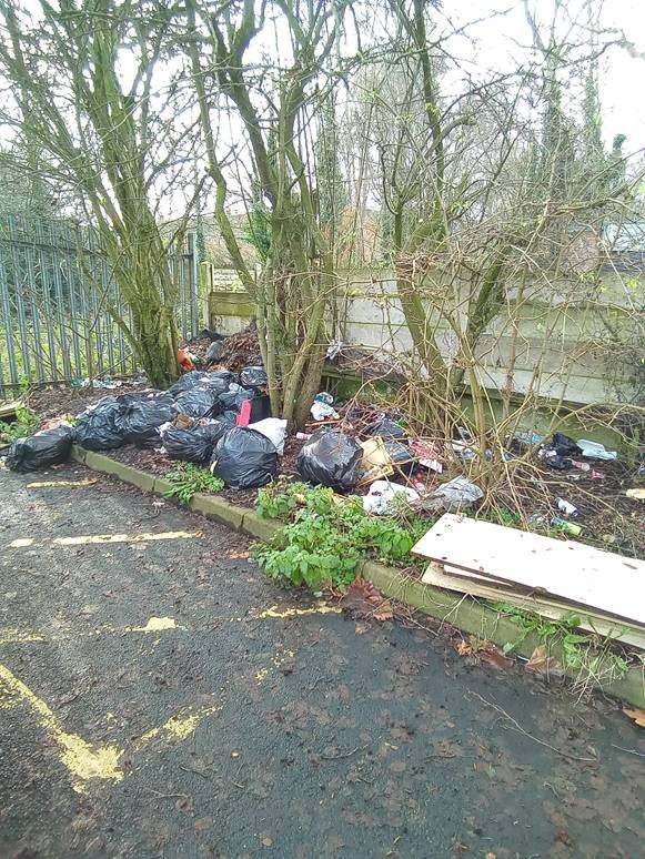Tipton fly tipped waste at princes end car park