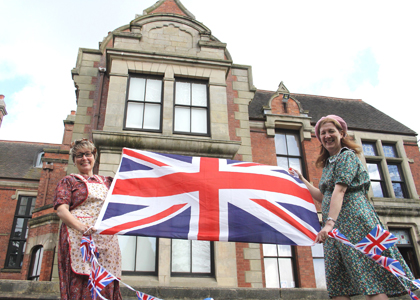 Museum assistant Anne Willetts and visitor services officer Alison Hyatt prepare for the VE Day 70th anniversary event at Haden Hill House Museum