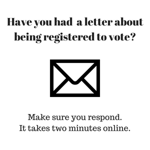Respond to your letter about being registered to vote