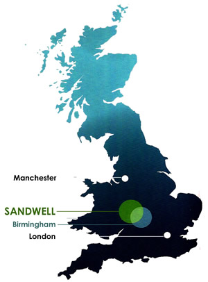 UK map showing location of Sandwell