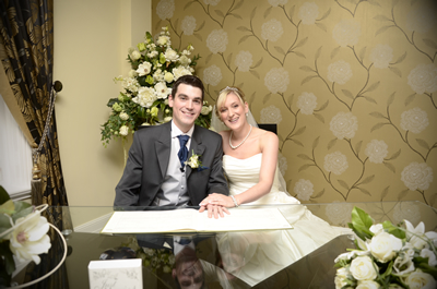 A happy couple getting marries at Sandwell Register Office