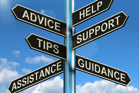 Sign showing advice, help, tips, support, assistance and guidance